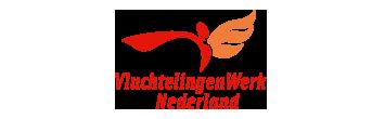 Het logo van Vluchtelingenwerk Nederland, partner van het vraaghuis in Zeewolde