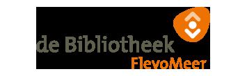Het logo van Flevomeer Bibliotheek, partner van het vraaghuis in Zeewolde